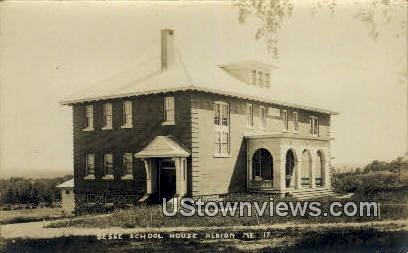 Real Photo, Besse School House - Albion, Maine ME Postcard