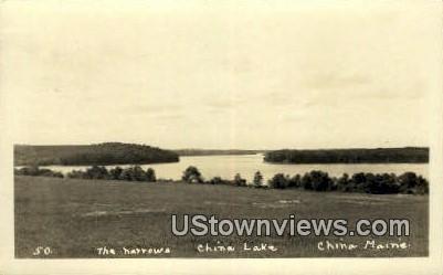 Real Photo, The Narrows, China lake - Maine ME Postcard