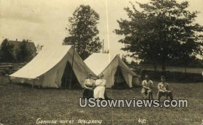 Real Photo Camping out at Waldrons - Greenville, Maine ME Postcard