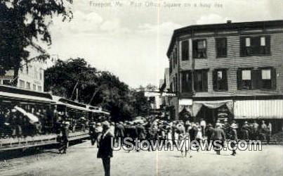 Real Photo, Post Office Square - Freeport, Maine ME Postcard