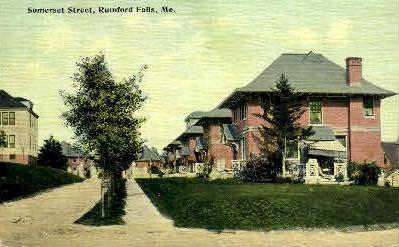 Somerset St. - Rumford Falls, Maine ME Postcard