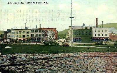 Congress St. - Rumford Falls, Maine ME Postcard