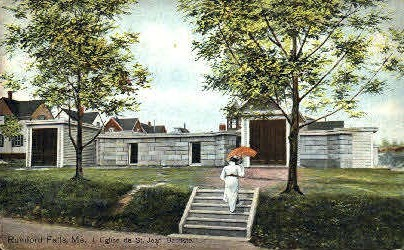 L'Eglise de St. Jean Baptiste - Rumford Falls, Maine ME Postcard