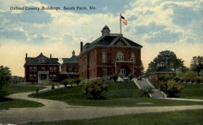 Oxford County Buildings - South Paris, Maine ME Postcard