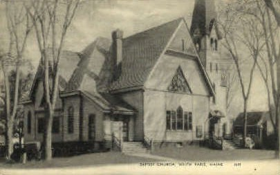 Baptist Church - South Paris, Maine ME Postcard