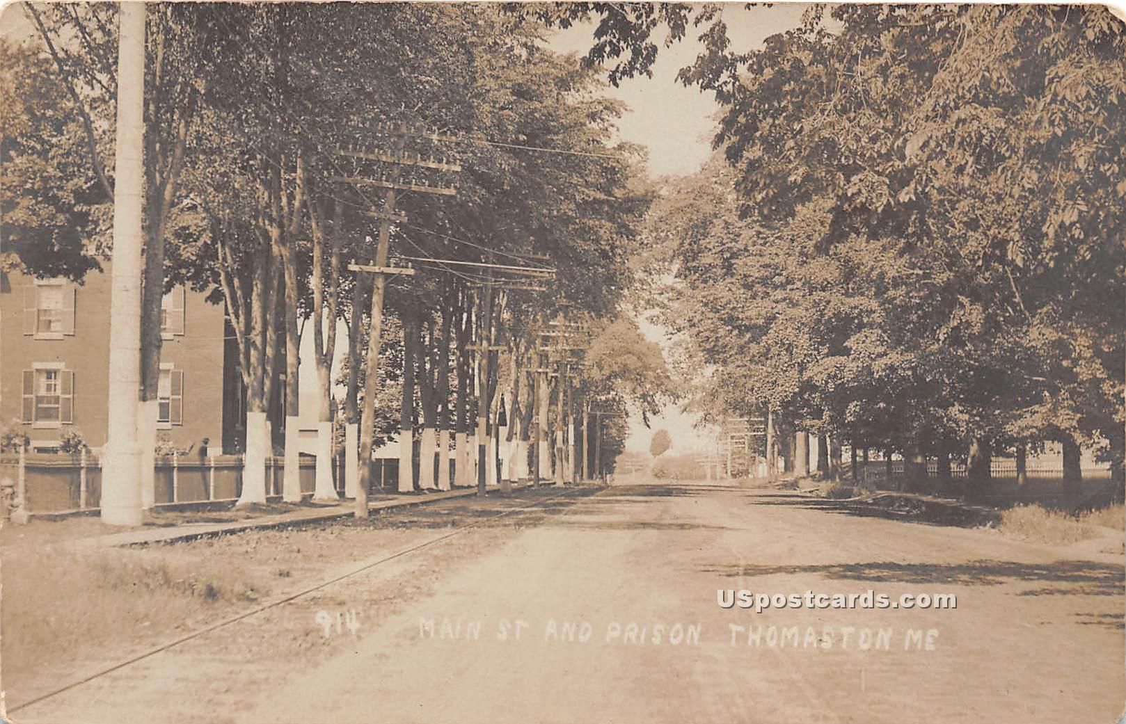 Main Street & Prison - Thomaston, Maine ME Postcard