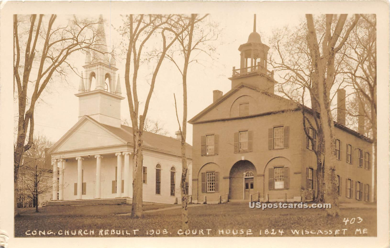 Congregational Church - Wiscasset, Maine ME Postcard