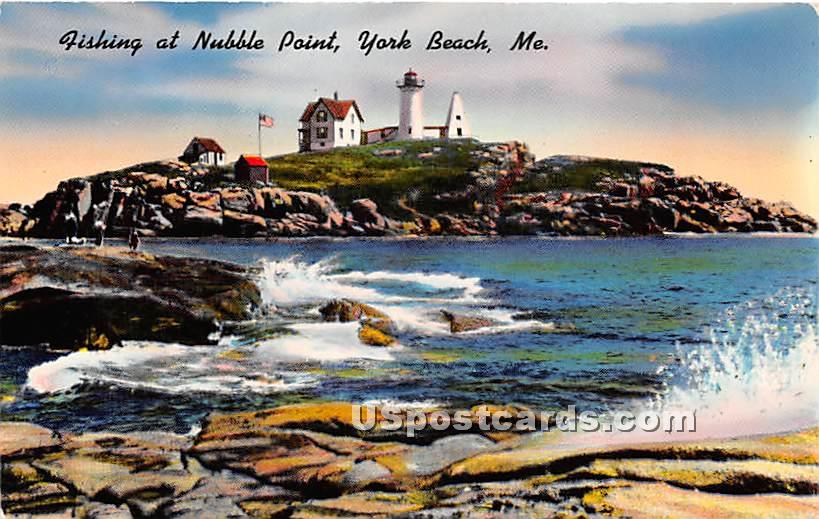 Fishing at Nubble Pointt - York Beach, Maine ME Postcard