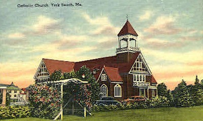 Catholic Church - York Beach, Maine ME Postcard