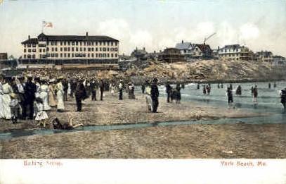 Bathing - York Beach, Maine ME Postcard