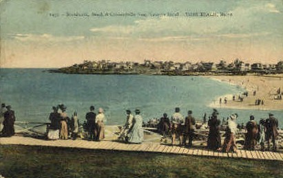 Boardwalk, Beach, & Concordville - York Beach, Maine ME Postcard