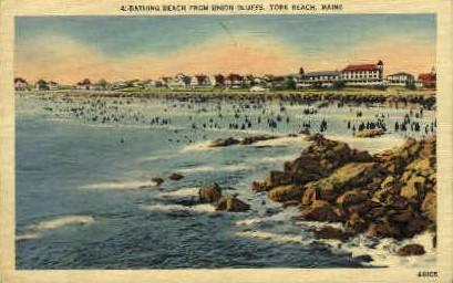 Bathing Beach - York Beach, Maine ME Postcard