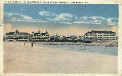 Fairmount, Waynita, & Young's Hotels - York Beach, Maine ME Postcard
