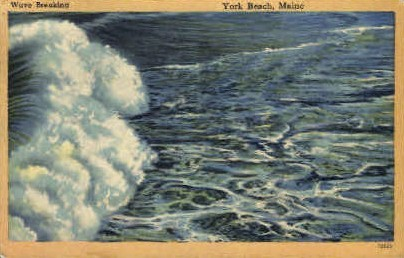 Wave Breaking - York Beach, Maine ME Postcard