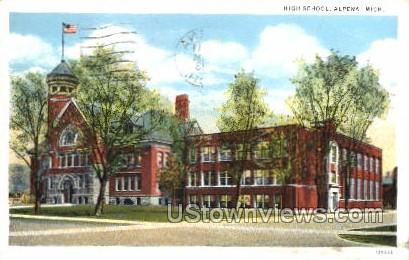 High School - Alpena, Michigan MI Postcard