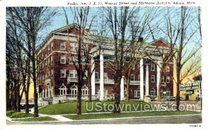 Parker Inn, Monroe St. and Michigan Ave. - Albion Postcard
