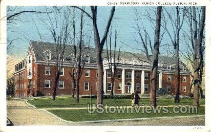 Girls' Dormitory, Albion College - Michigan MI Postcard