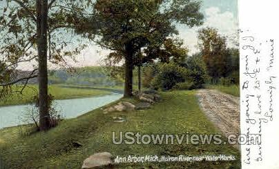 Huron River near Water Works - Ann Arbor, Michigan MI Postcard