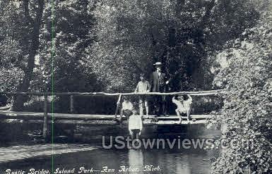 Rustic Bridge, Island Park - Ann Arbor, Michigan MI Postcard