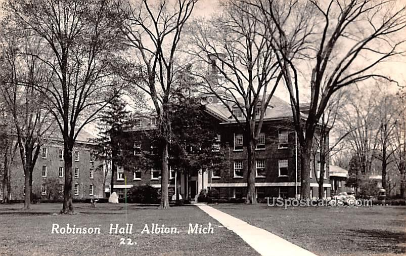 Robinson Hall - Albion, Michigan MI Postcard