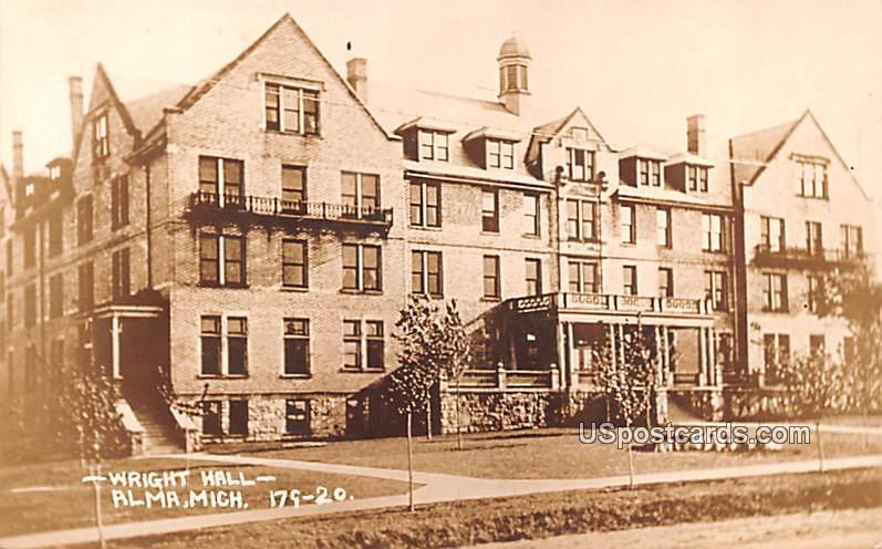 Wright Hall - Alma, Michigan MI Postcard