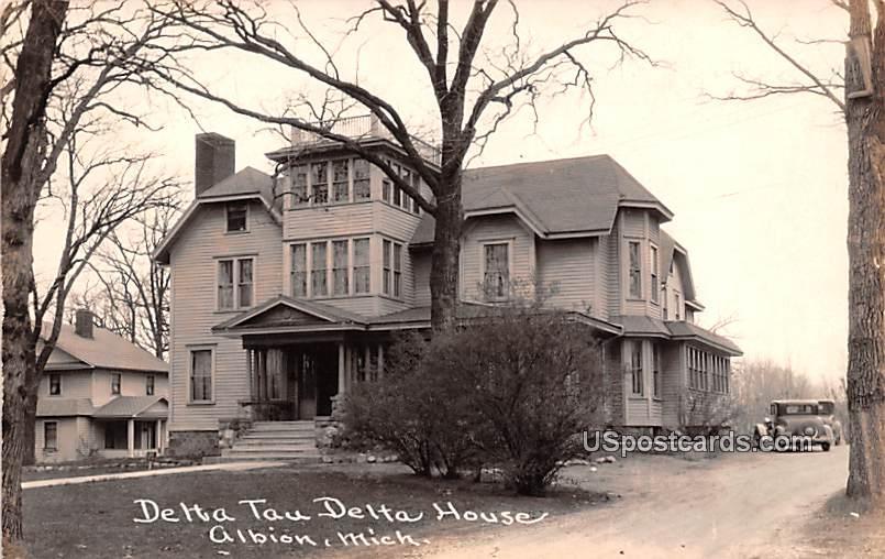 Delta Tau Delta House - Albion, Michigan MI Postcard