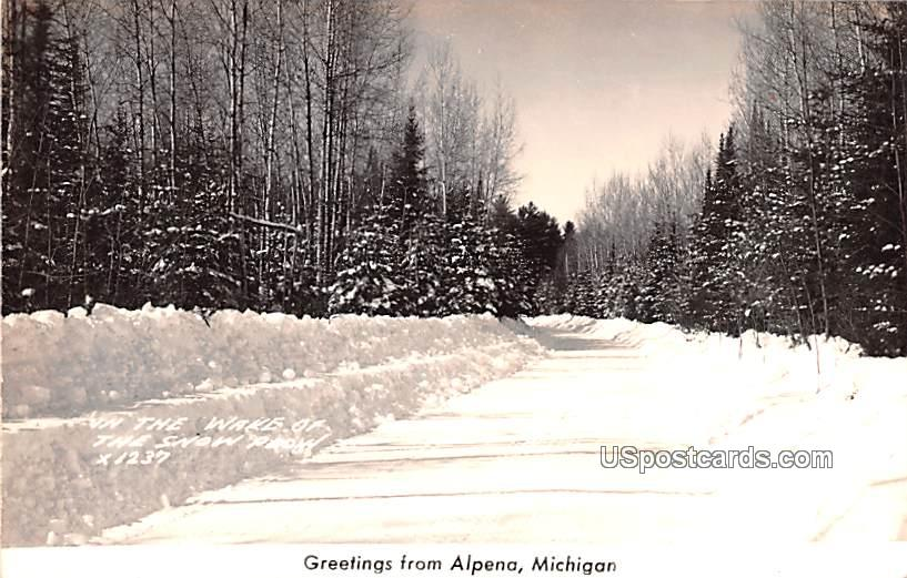 Wake of the Snow Plow - Alpena, Michigan MI Postcard