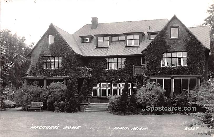 Macabee's Home - Alma, Michigan MI Postcard