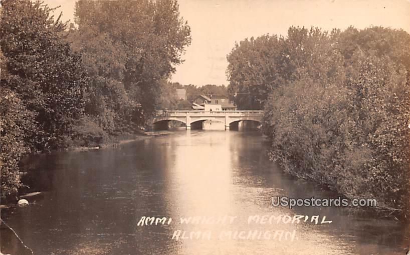 Ammi Wright Memorial - Alma, Michigan MI Postcard