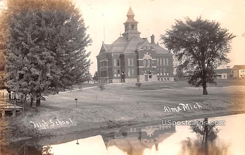 High School - Alma, Michigan MI Postcard