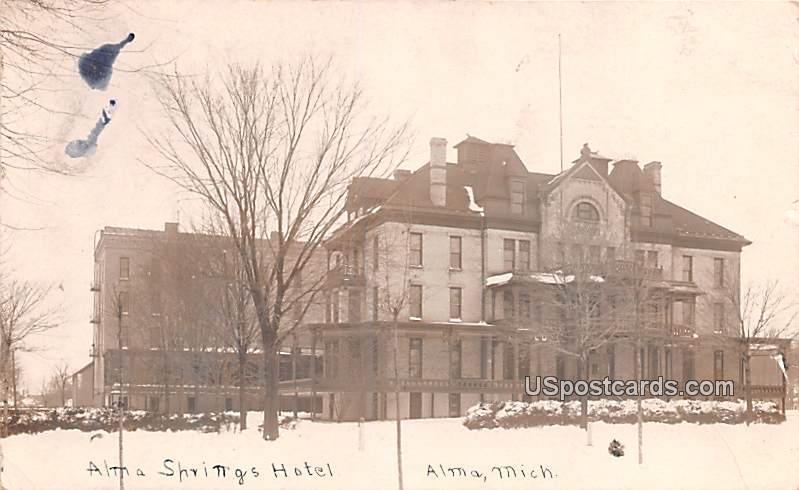 Alma Springs Hotel - Michigan MI Postcard