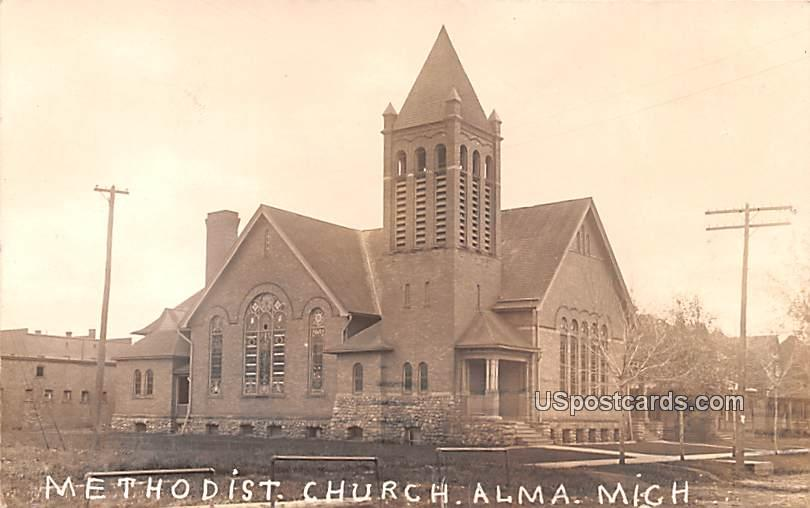 Methodist Church - Alma, Michigan MI Postcard