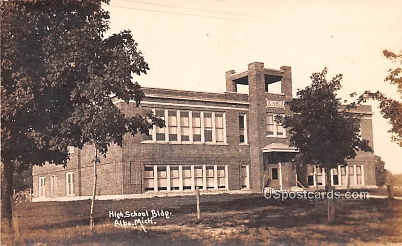 High School Building - Alba, Michigan MI Postcard