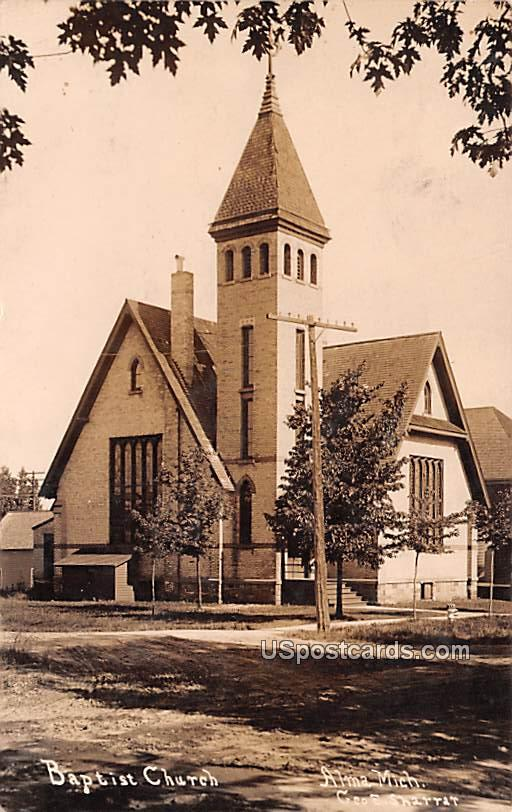 Baptist Church - Alma, Michigan MI Postcard