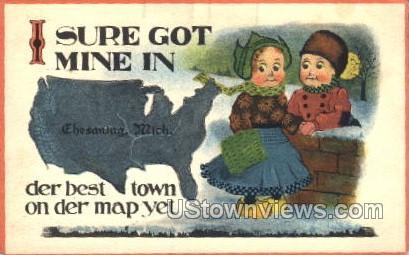 . - Chesaning, Michigan MI Postcard