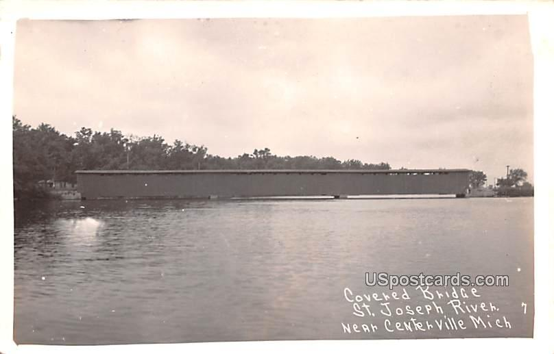 Covered Bridge - Centerville, Michigan MI Postcard