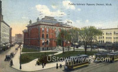 Public Library Square - Detroit, Michigan MI Postcard