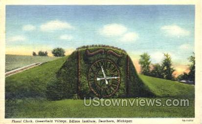 Floral Clock - Dearborn, Michigan MI Postcard
