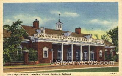 Gate Lodge Entrance, Greenfield Village - Dearborn, Michigan MI Postcard