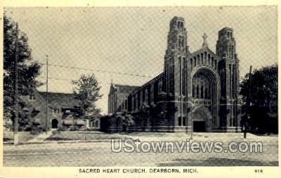 Sacred Heart Church - Dearborn, Michigan MI Postcard