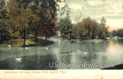 Lighthouse and Lake, Palmer Park - Detroit, Michigan MI Postcard