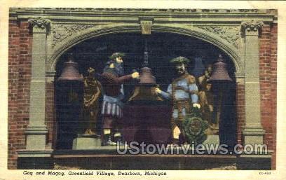 Gog and Magog - Dearborn, Michigan MI Postcard