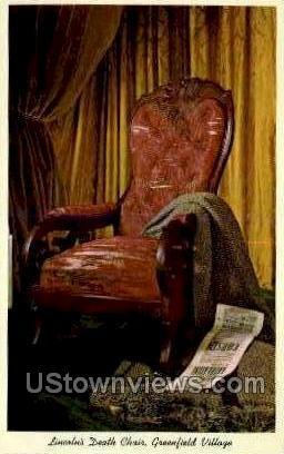 Lincoln's Death Chair - Dearborn, Michigan MI Postcard