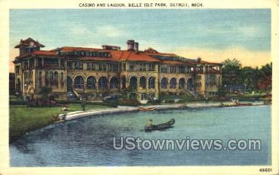 Casion and Lagoon, Belle Isle Park - Detroit, Michigan MI Postcard