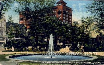 East Grand Circus Park and Y. M. C. A. - Detroit, Michigan MI Postcard