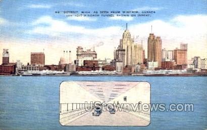 Detroit-Windsor Tunnel - Michigan MI Postcard
