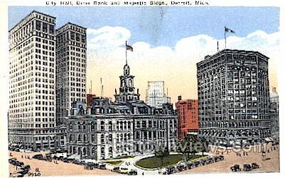 City Hall, Dime Bank and Majestic Buildings - Detroit, Michigan MI Postcard
