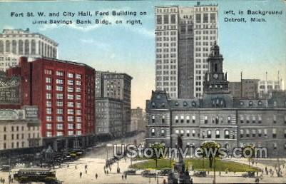 City Hall and Fort St. West - Detroit, Michigan MI Postcard