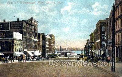 Foot of Woodward Ave. - Detroit, Michigan MI Postcard