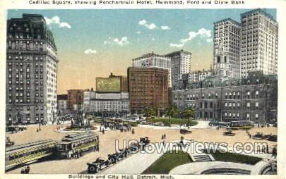 Cadillac Square, Buildings and City Hall - Detroit, Michigan MI Postcard